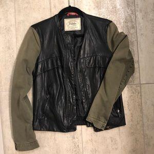Leather and Olive Bomber Jacket